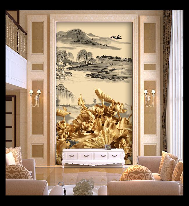 背景墙|装饰画 玄关 木雕玄关 > 水墨国画山水风景画木雕荷花图玄关