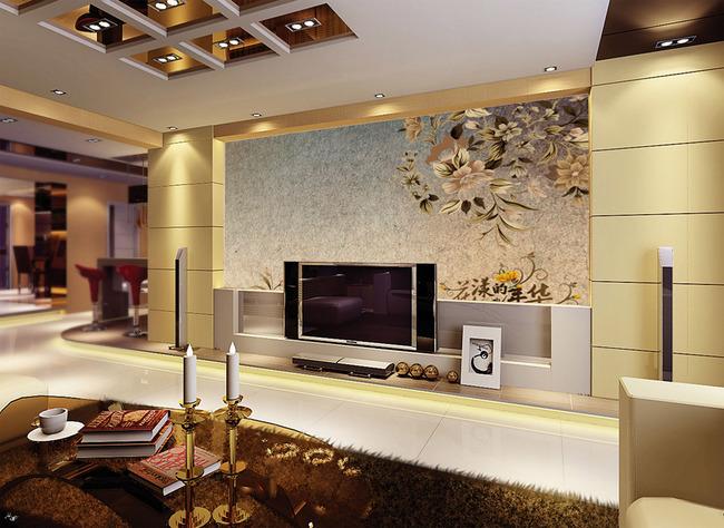 欧式典雅复古花纹电视背景墙