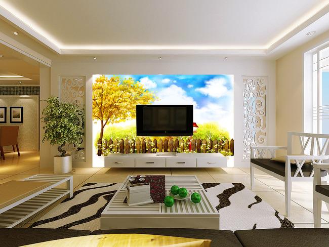高清手绘春景沙发背景墙
