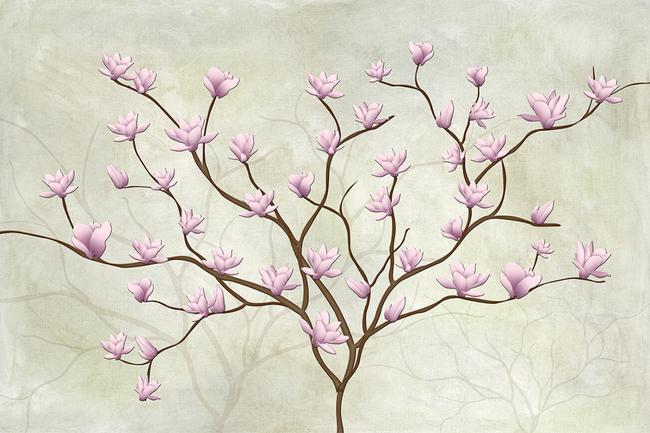 现代做旧玉兰花背景墙壁画高清图片下载(图片编号)墙.图片