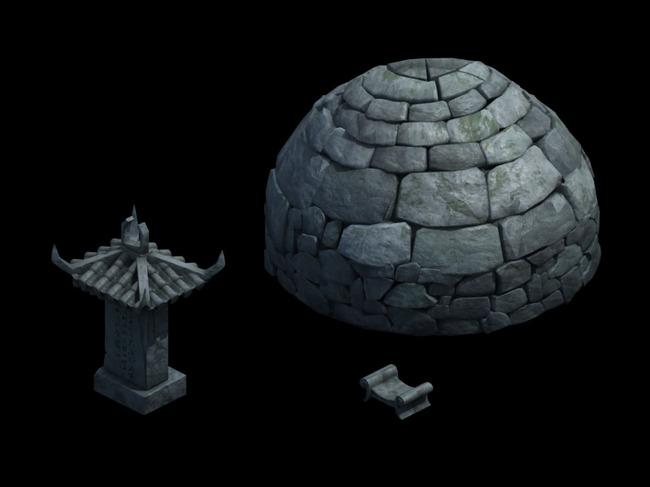 2.5d三维游戏卡通古代场景石头建筑