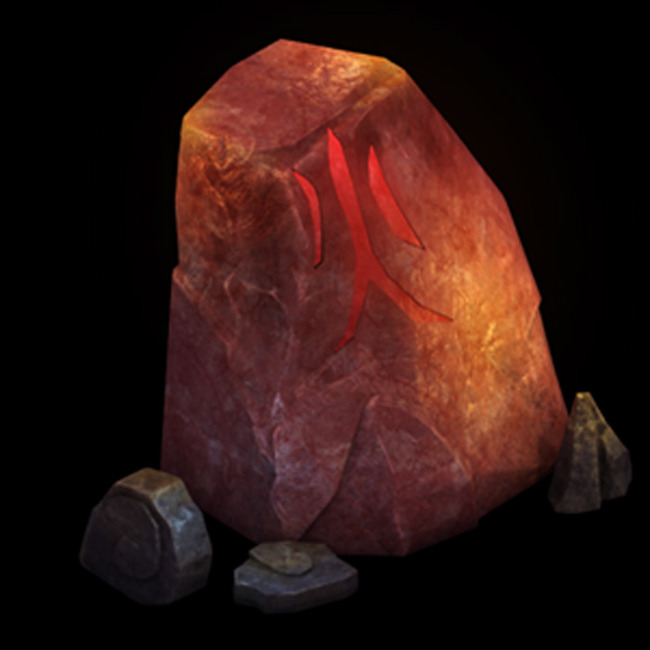 2.5d三维游戏卡通火山大石头岩石