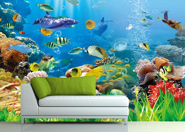 3d精品海底世界电视背景墙