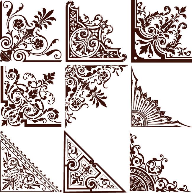 欧式花纹角花图案