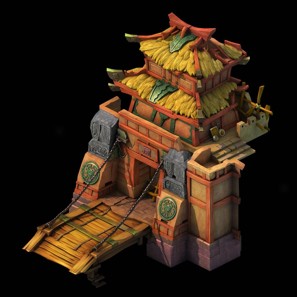 5d三维游戏卡通古代建筑城门模型图片下载q版图片