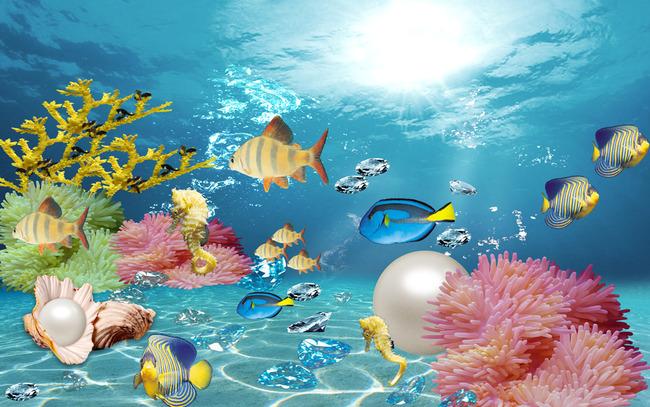 海底世界观赏鱼海草海水设计背景图