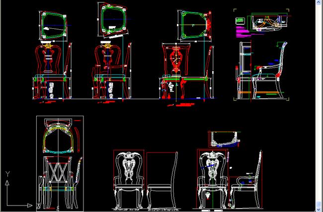 椅子cad三视图模板下载(图片编号:13620415)