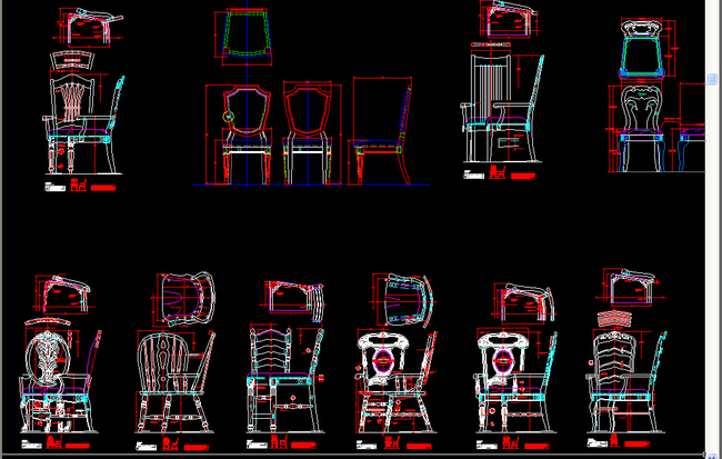 办公椅设计图三视图展示