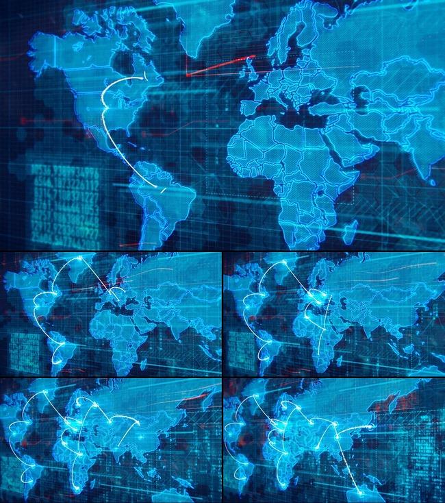 高科技世界地图连线视频素材视频模板