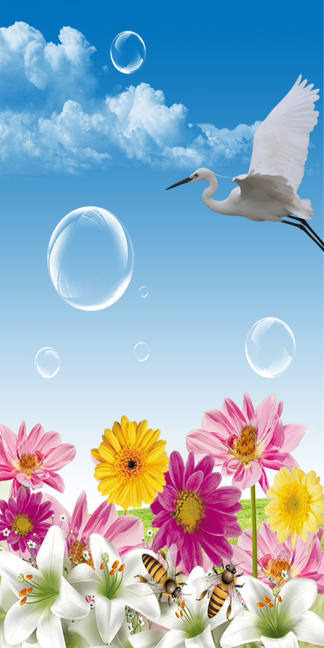 鲜花泡泡白鹤白云蜜蜂风景图片