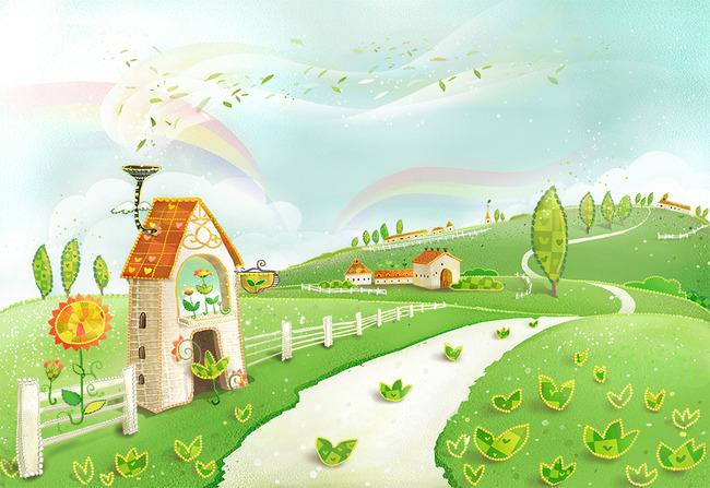 背景墙 装饰画 壁画 手绘壁画 > 卡通城堡儿童房床头背景壁画  中国最