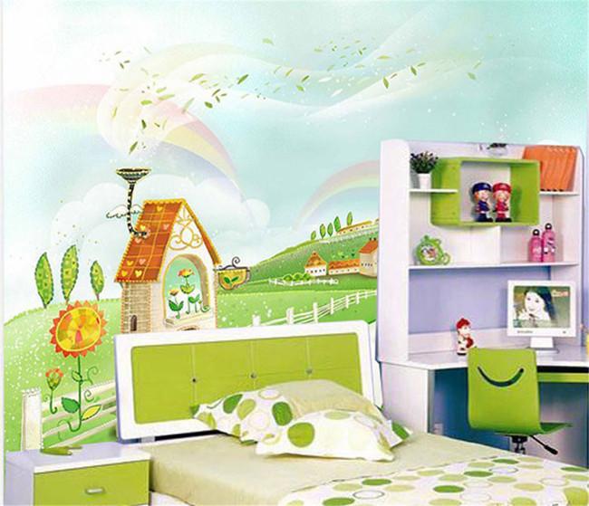 卡通城堡儿童房床头背景壁画