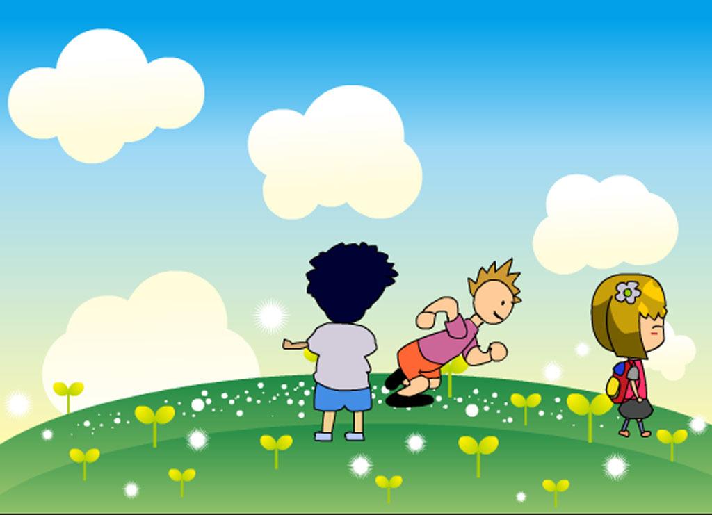 跑步天空草地 背书包的小女孩