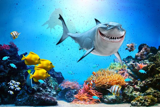 海底世界海洋鲨鱼海水3d立体背景墙图片