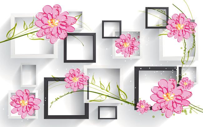 背景墙|装饰画 电视背景墙 客厅电视背景墙 > 手绘鲜花3d黑白方格背景
