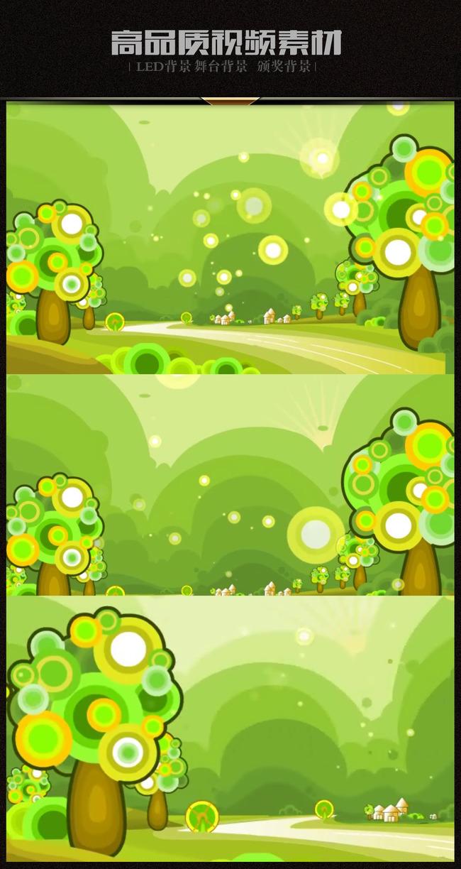 卡通绿色风景小树林村庄道路