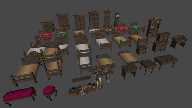 西方古代木床衣柜钟模型