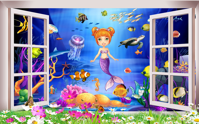 3d海底世界美人鱼卡通儿童房床头背景墙