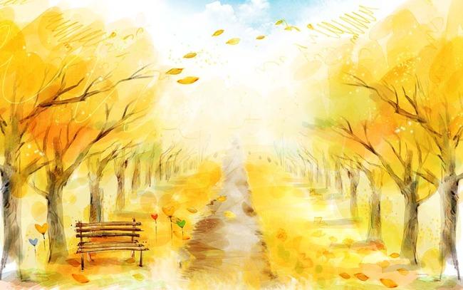 秋天落叶水彩3d方框电视背景墙