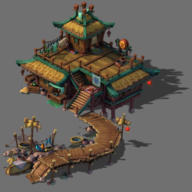 5d三维游戏卡通古代建筑模型图片下载q版图片