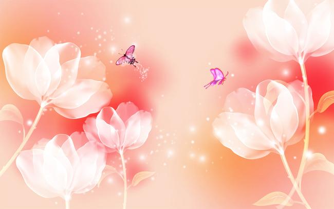 梦幻黄色花卉蝴蝶背景墙