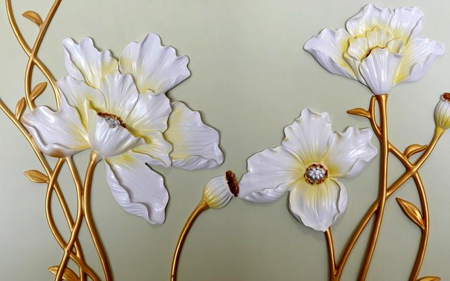莲花浮雕背景墙