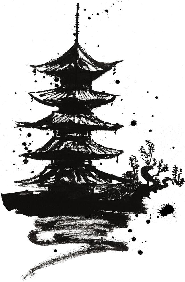 手绘水墨游戏场景设定手稿素材