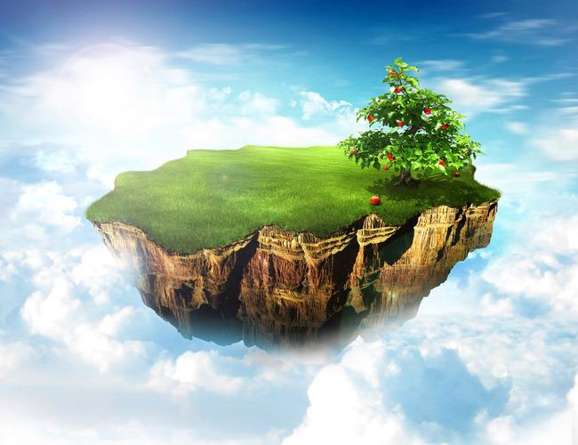 天空悬浮小岛3d地板地画下载