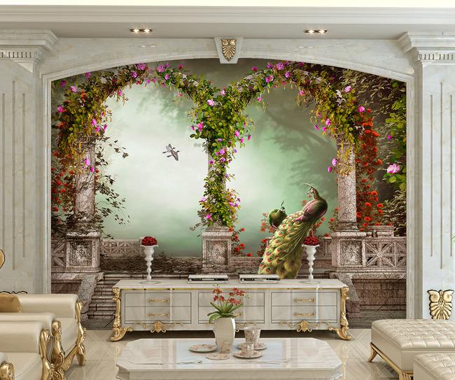 画 电视背景墙 欧式电视背景墙 > 欧式田园孔雀罗马柱电视沙发背景墙图片