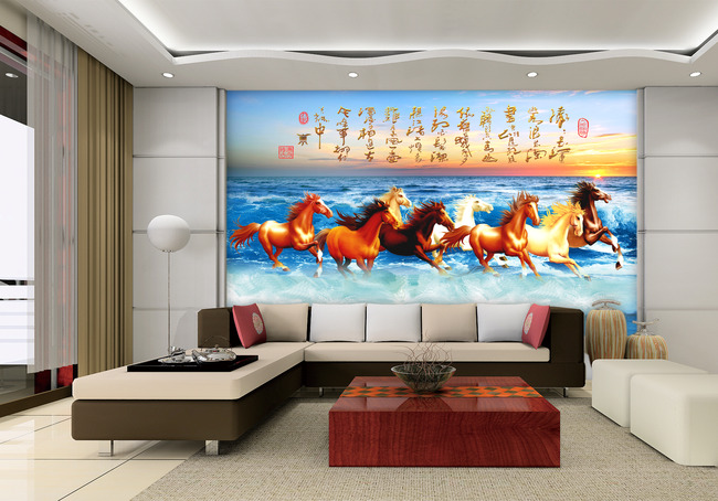 图片下载八骏图电视背景墙 天河 字马飞马大海海水 湖 中国式电视壁画