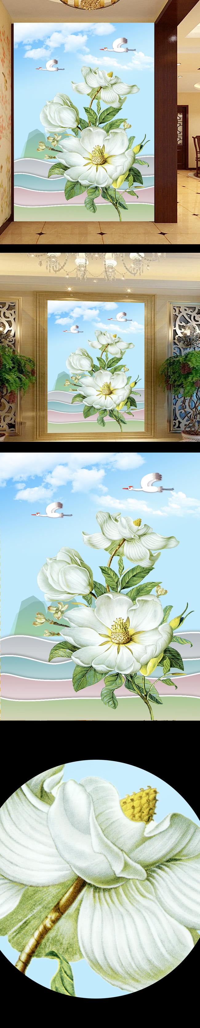 3d手绘花卉玄关背景墙 白花天空天鹅白云 含笑花 花卉 山水 古典 现代