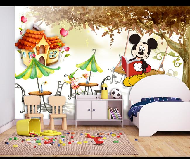 高清手绘大树风景儿童房卡通壁画