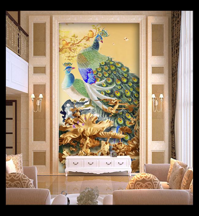 木雕荷花图国画孔雀图花鸟图玄关背景墙