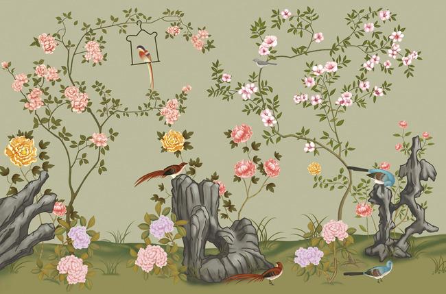 百鸟朝凤 文艺手绘 手绘花鸟 花开富贵 手绘地面 手绘鸟 手绘树叶
