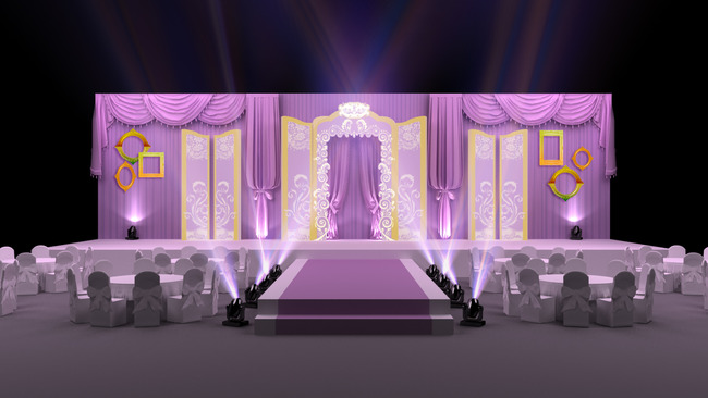 高端紫色大气主题婚礼3d模型设计图片下载