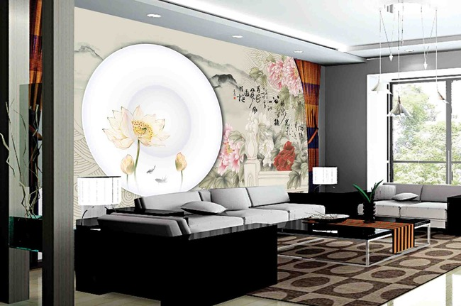 中式背景墙青花瓷盘子2