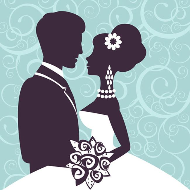 新郎新娘婚礼矢量图