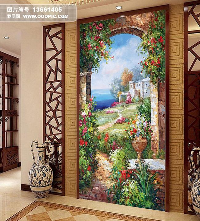油画风景画玄关背景墙