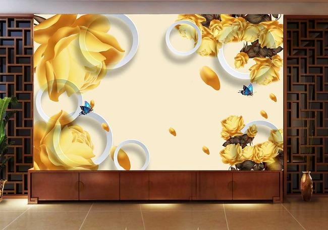玫瑰花金色3d电视背景墙手绘