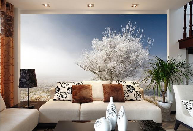 雾凇电视背景墙壁画