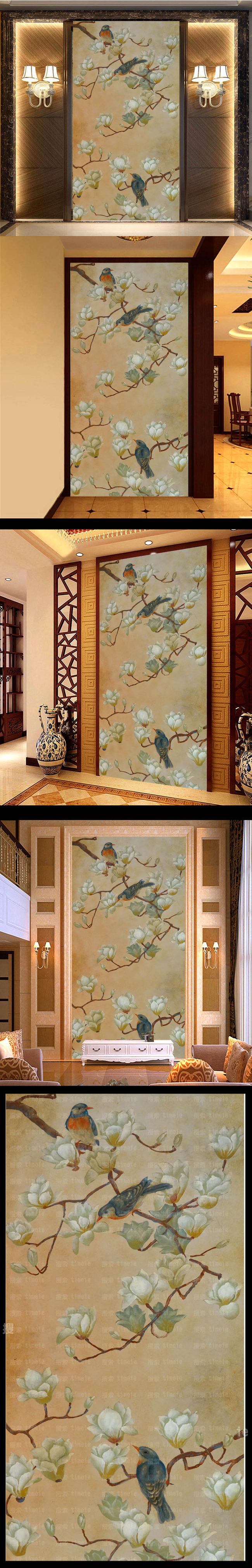高清手绘花鸟玄关装电视墙饰画