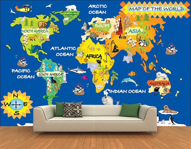卡通世界地图背景温馨背景墙