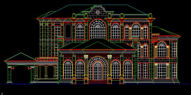 欧式城堡别墅立面建筑cad