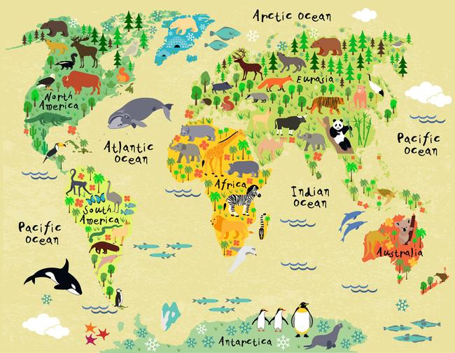 卡通动物世界地图背景