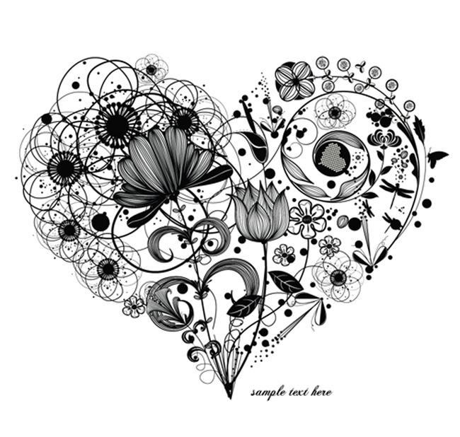 手绘心形花卉 t恤衫图片
