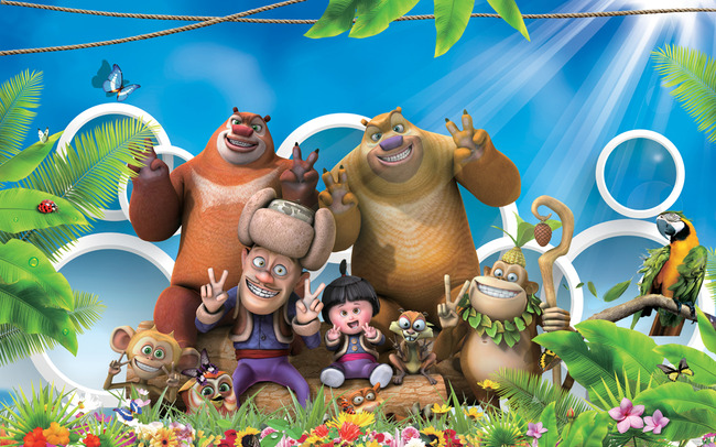 3d立体熊出没全部卡通人物背景墙