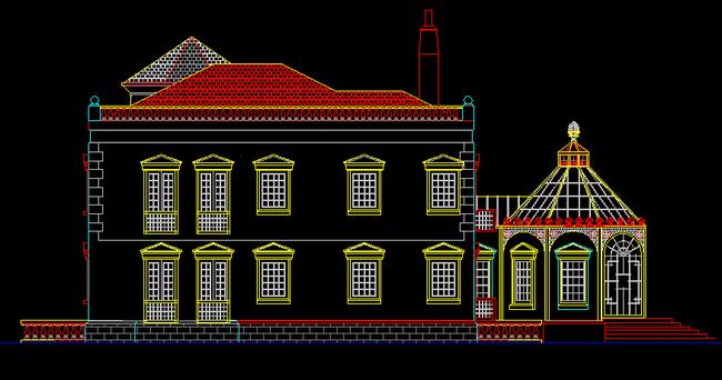 城堡式欧式别墅外观建筑图 CAD立面 图模板下