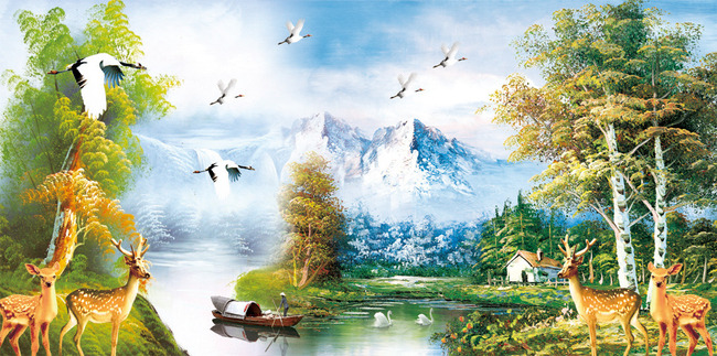 高清山水聚宝盆系列风景油画