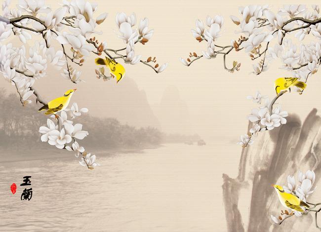 玉兰花香中式风景画背景墙