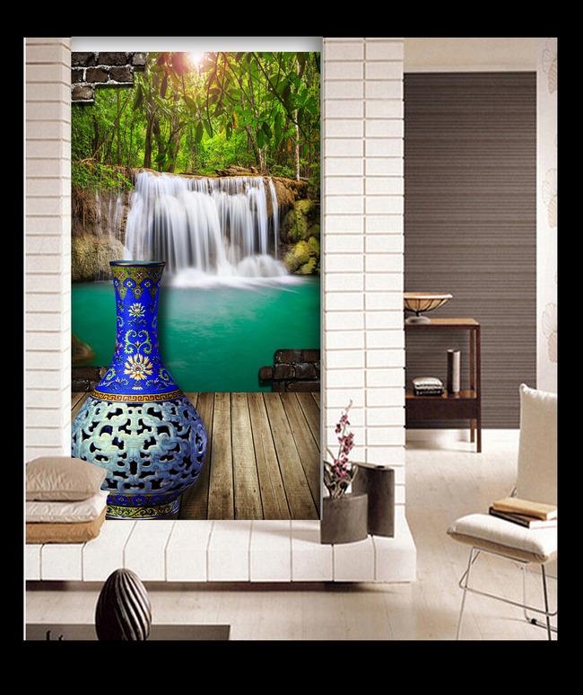 山水风景画木地板青花瓷瓶瀑布玄关
